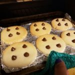 six cookie on a toaster oven pan
